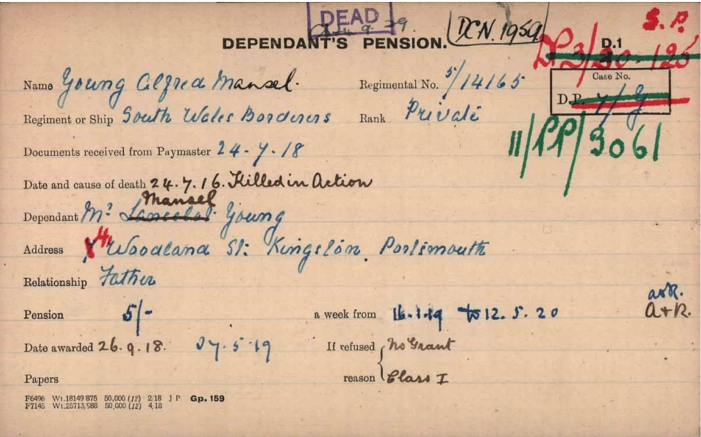 WWI Dependant's Pension