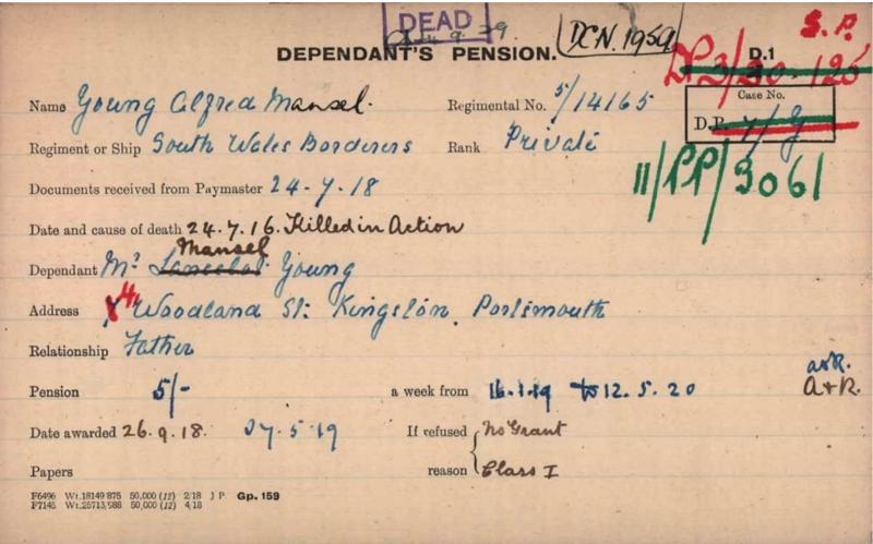 WWI Dependant's Pension